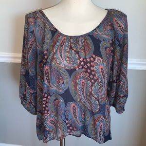 DREW Anthropologie Paisley Boho Top Size M…